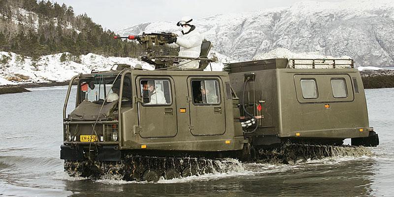 Een Bandvagn 206 D6 in het water met op achtergrond een besneeuwd landschap.